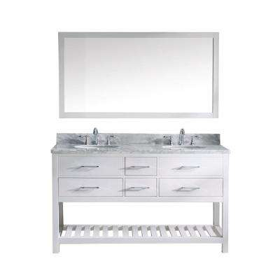 Caroline Estate 60 in. W x 36 in. H Vanity with Marble Vanity Top in Carrara White with White Round Basin and Mirror