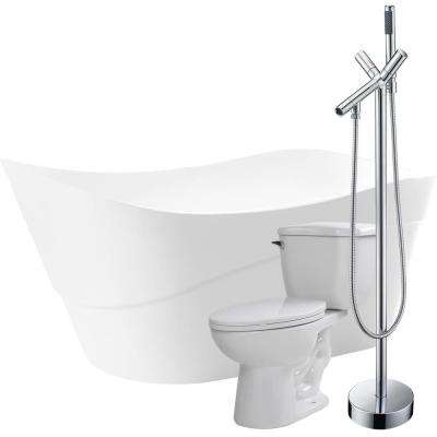 Kahl 67 in. Acrylic Flatbottom Non-Whirlpool Bathtub in White with Havasu Faucet and Kame 1.28 GPF Toilet