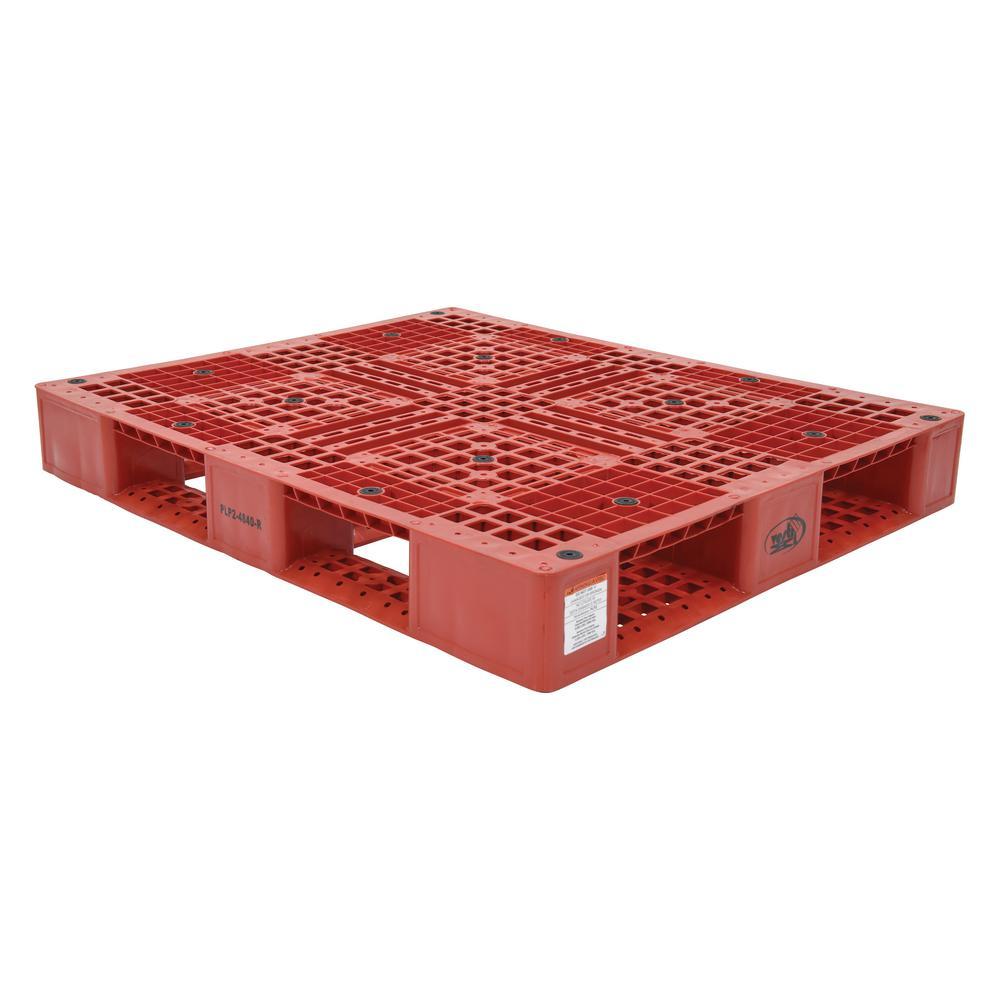 48 in. x 40 in. x 6 in. Red Plastic Pallet/Skid
