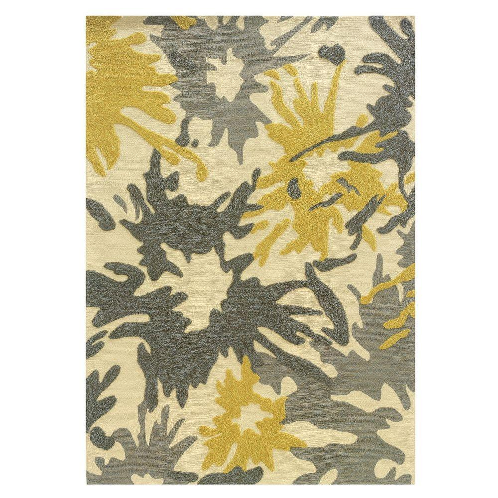 Linon Home Decor Le Soliel Collection Ivory And Yellow 5 Ft X 7 Ft Outdoor Area Rug Rug Ls1957