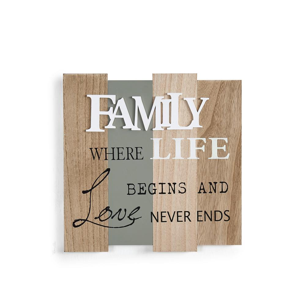Inspirational Family - Where Life Begins and Love Never Ends Wooden