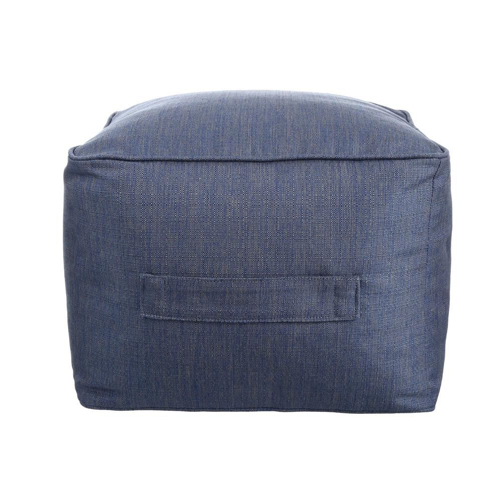 Hampton Bay Sky Blue Square Outdoor Pouf with Handle