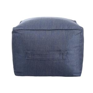 Sky Blue Square Outdoor Pouf with Handle