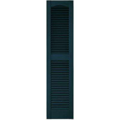 12 in. x 52 in. Louvered Vinyl Exterior Shutters Pair in #166 Midnight Blue
