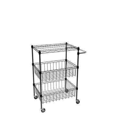 Commercial Steel Basket Kitchen Cart in Black