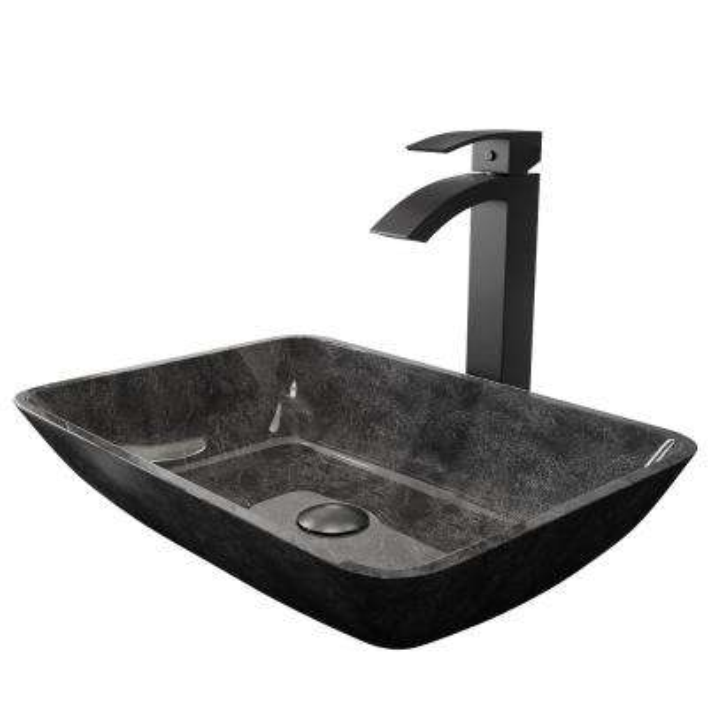 Rectangular Gray Onyx Glass Vessel Bathroom Sink Set with Duris Vessel Faucet in Matte Black
