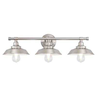 Iron Hill 3-Light Brushed Nickel Wall Mount Bath Light