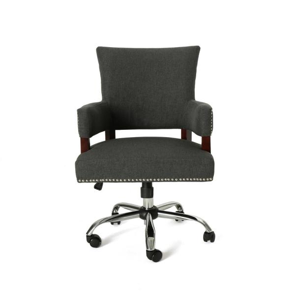 Noble House Bonaparte Traditional Studded Dark Gray Fabric Adjustable Home Office Chair With Wheels 53492 The Home Depot