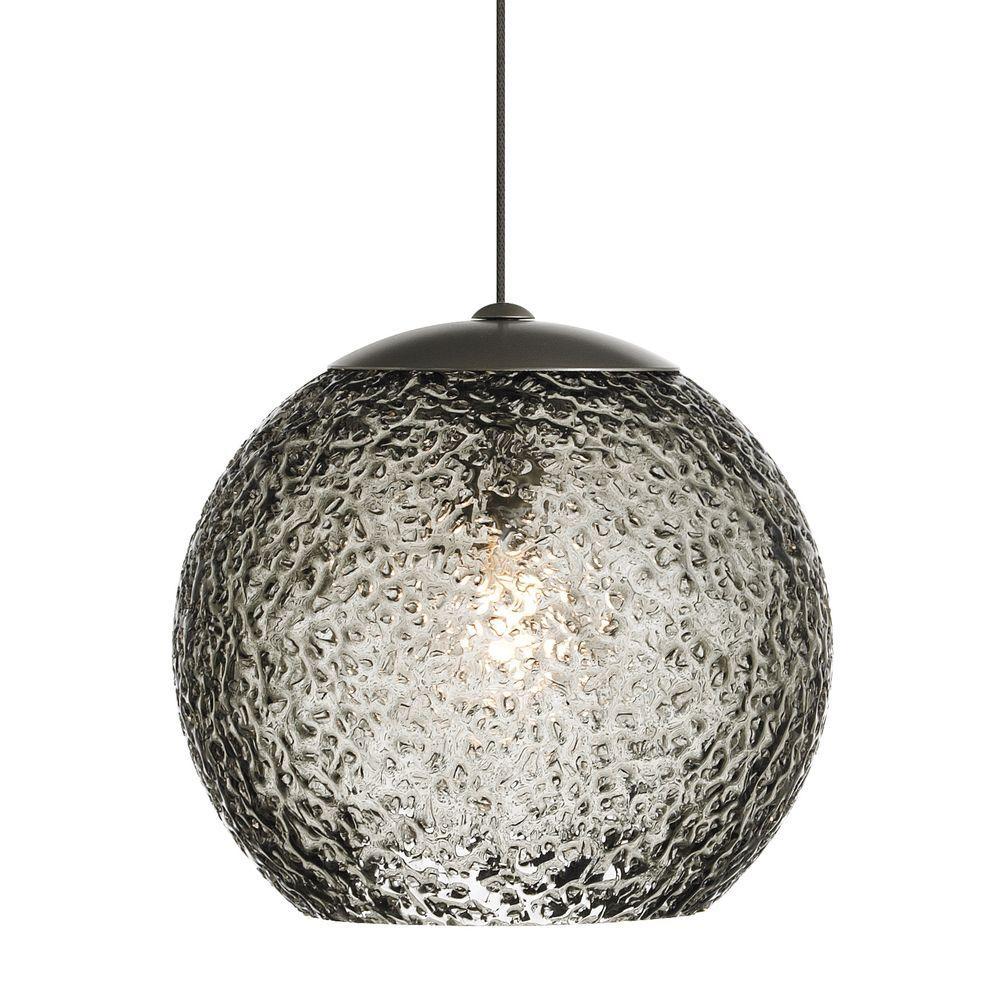 Mini-Rock Candy Round 1-Light Bronze Smoke LED Hanging Mini Pendant