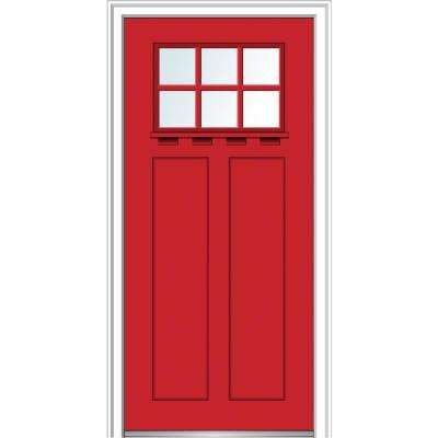 32 in.x80 in. Low-E Glass Left-Hand Craftsman 2-Panel 6-Lite Clear Painted Fiberglass Smooth Prehung Front Door w/ Shelf