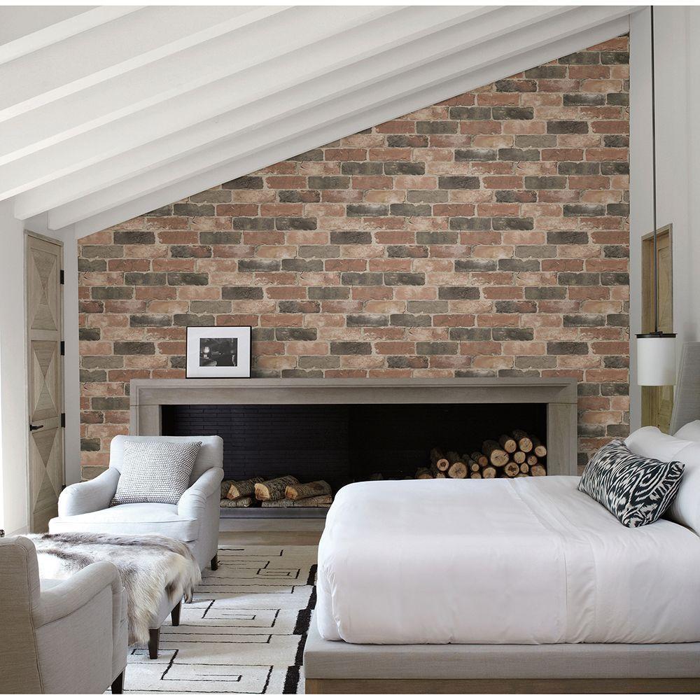 Dusty Red Reclaimed Bricks Rustic Wallpaper