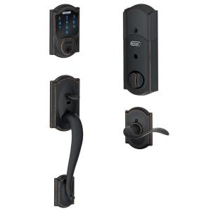 Camelot Aged Bronze Connect Smart Lock with Alarm and Right Handed Accent Lever Handleset