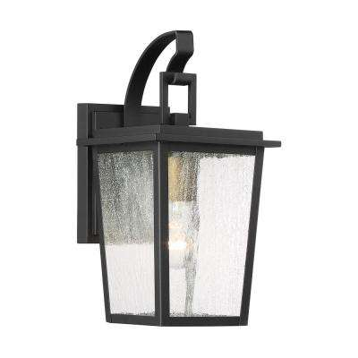 Cantebury Small 1-Light Sand Black with Gold Outdoor Light Sconce