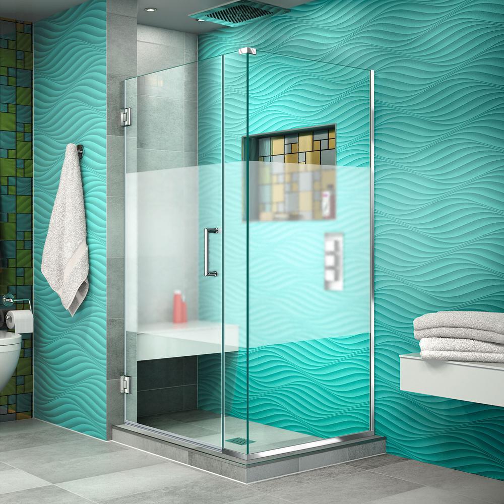 DreamLine Unidoor Plus 34-3/8 in. x 35-1/2 in. x 72 in. Semi-Frameless Hinged Corner Shower Enclosure in Chrome