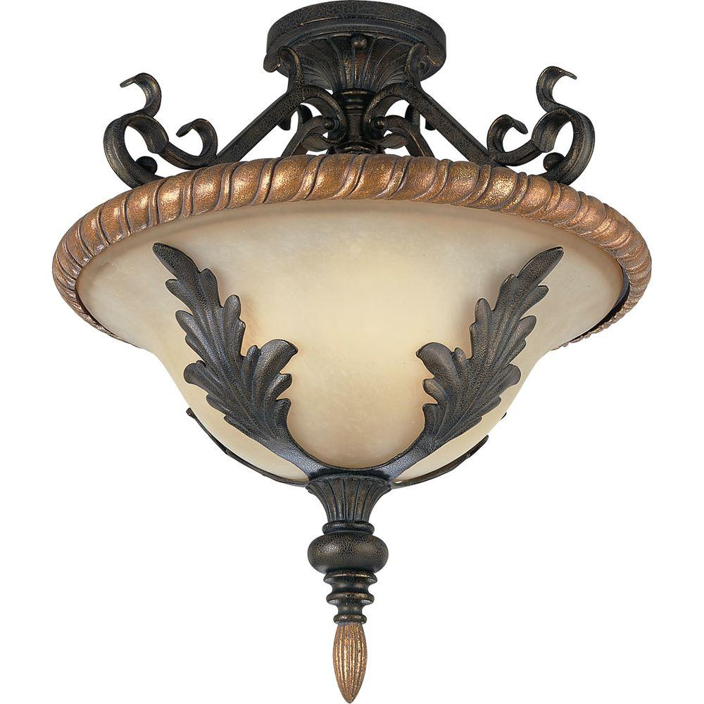 Progress Lighting Provence Collection Old Iron Crackle 3-light Semi-flushmount-DISCONTINUED