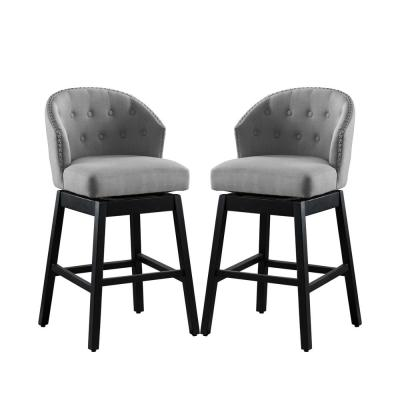 Genoa 40 in. Grey Swivel Upholstered Bar Stool (Set of 2)