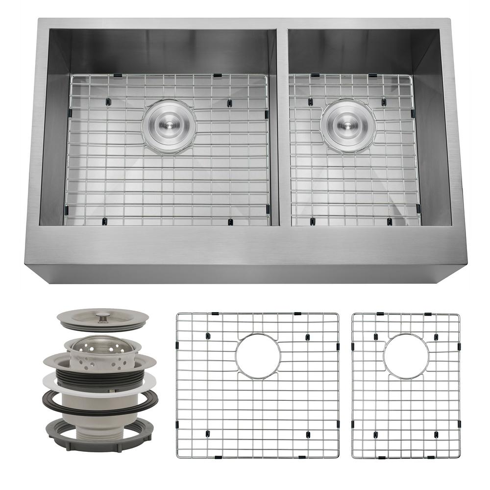 Handcrafted All-in-One Farmhouse Apron Front Stainless Steel 33 in. x 20
