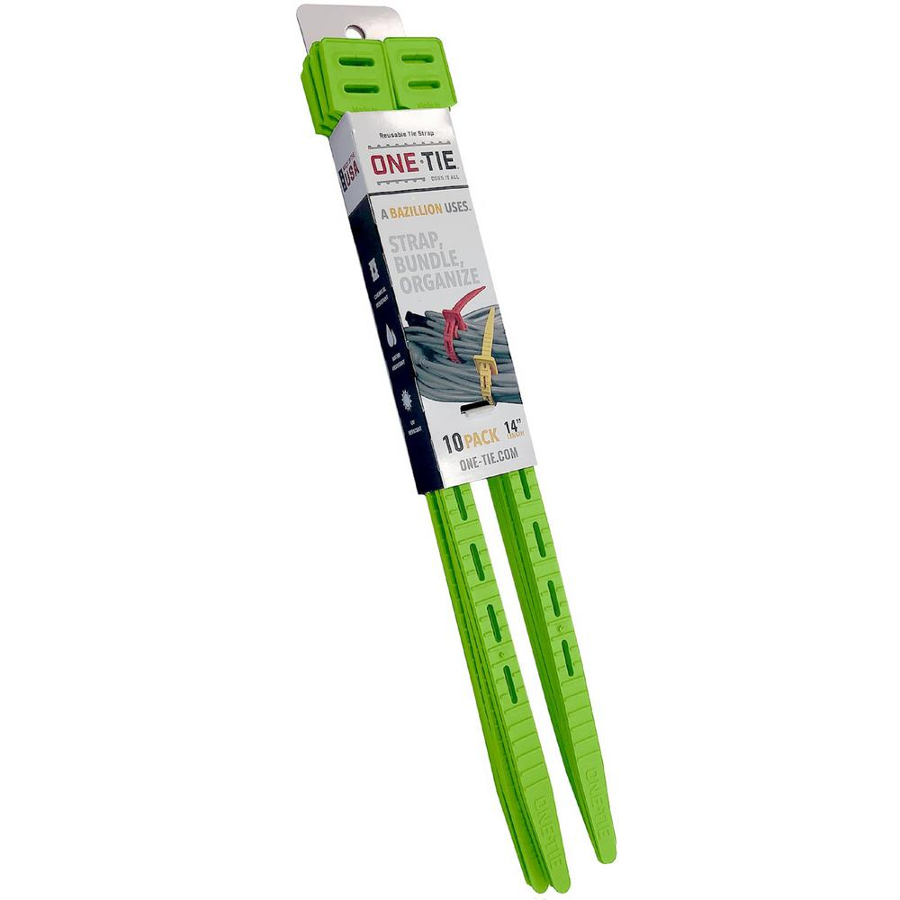 14 in. Cable Ties, Bright Green (10-Pack)