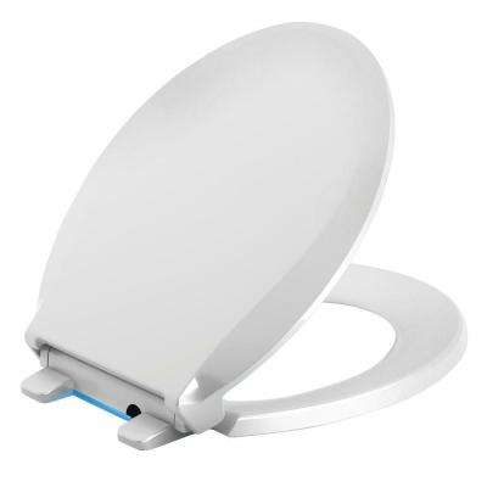 Cachet LED Nightlight Round Quiet Closed Front Toilet Seat in White