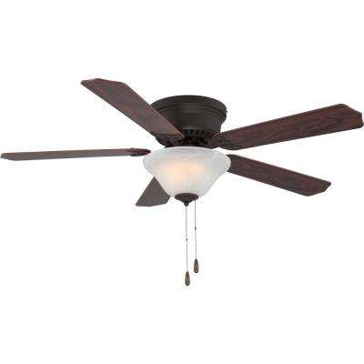 52 in. W x 14.25 in. H 3-Light Indoor Bronze Hugger Ceiling Fan with Light, White Alabaster Glass, Reversible Blades