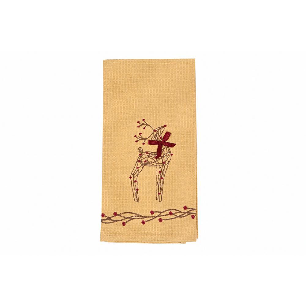 0.2 in. H x 16 in. W x 22 in. D Rustic Reindeer Christmas Tea Towels (Set of 4)