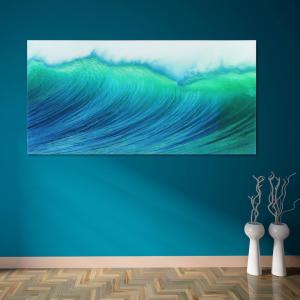 ''Blue Wave'' Frameless Free Floating Tempered Art Glass by EAD Art Coop Wall Art
