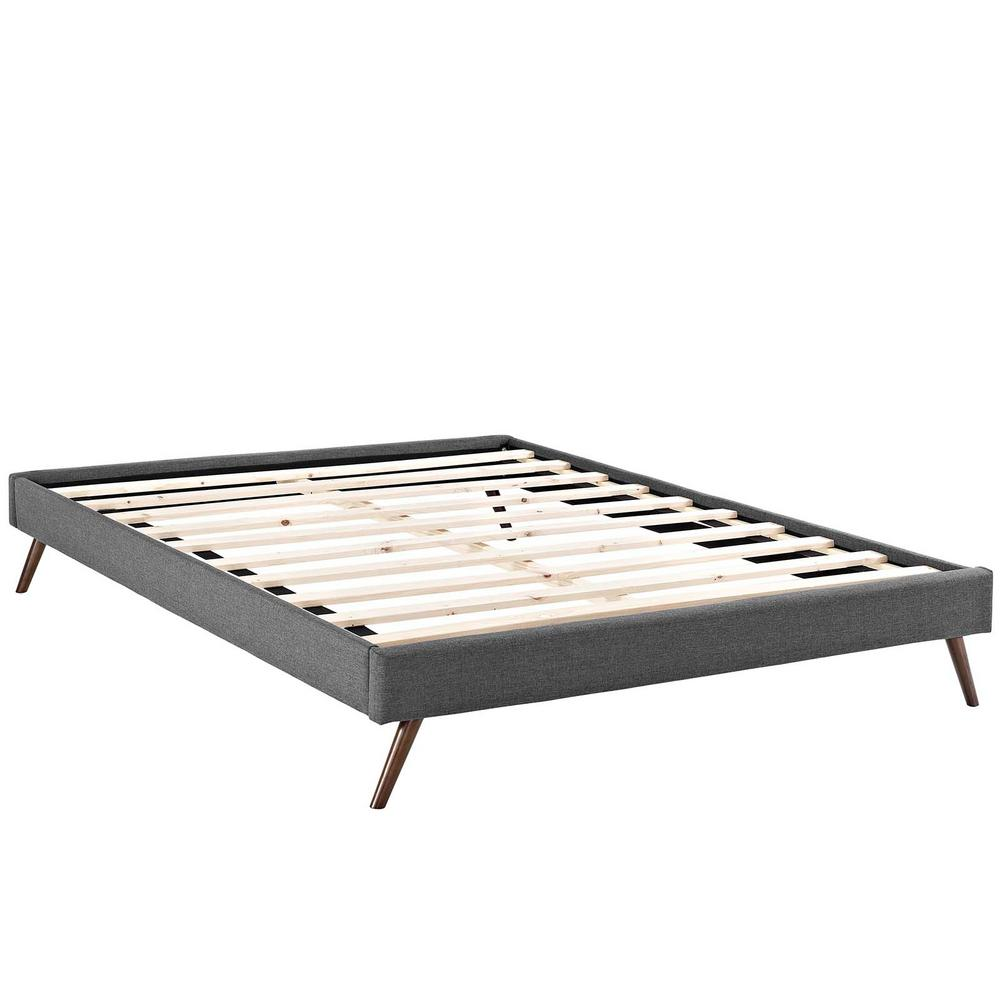 Loryn Gray Queen Bed Frame with Round Splayed Legs