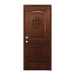 Steves sons 36 in x 80 in rustic 2 panel plank - Prefinished mahogany interior doors ...