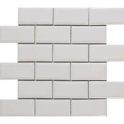 Frost Beveled 11 in. x 12 in. x 6 mm Glazed Ceramic Mesh-Mounted Mosaic Tile