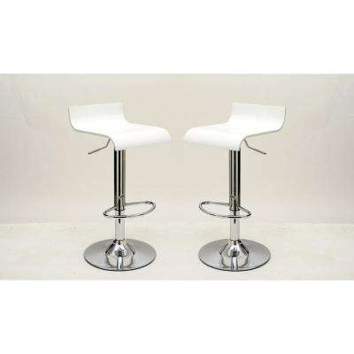 Practical Ludlow White Barstool with Height Adjustability (Set of 2)