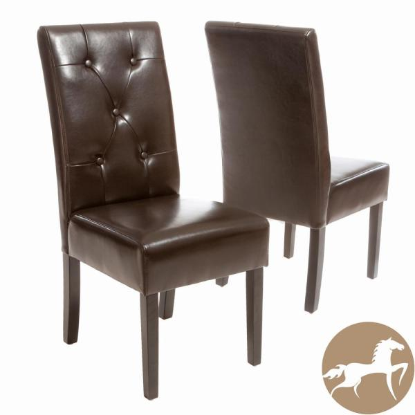 Taylor Brown Bonded Leather Dining Chair (Set of 2)