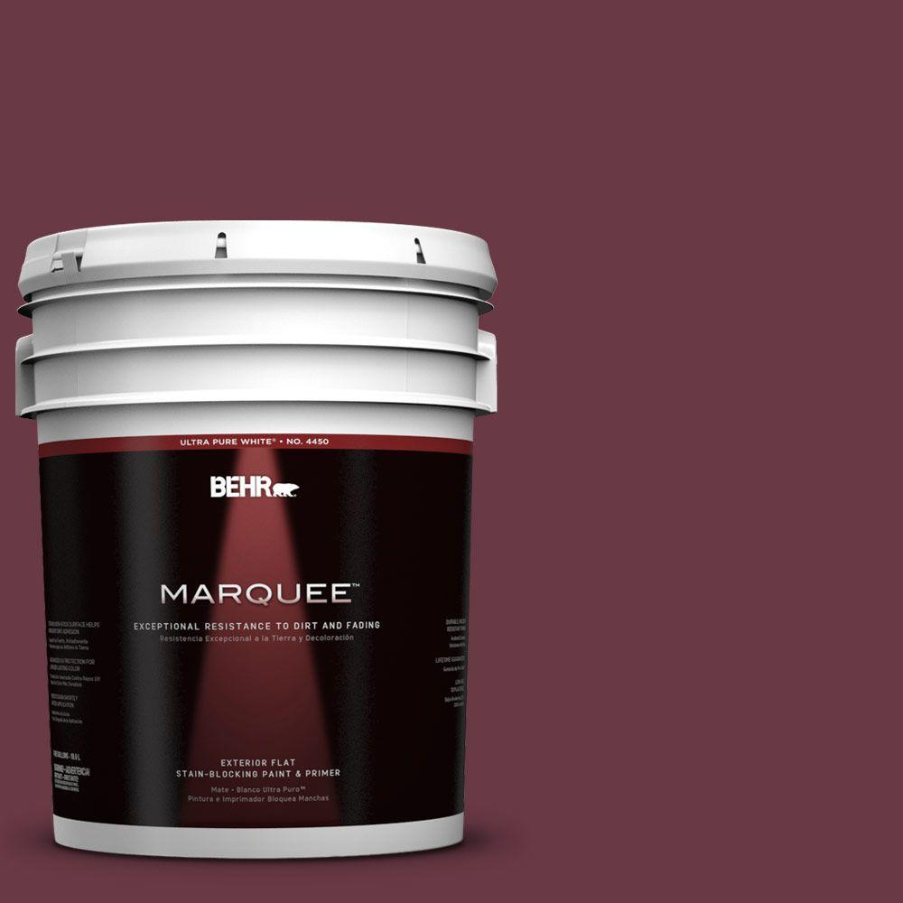 BEHR MARQUEE 5-gal. #110D-7 Vin Rouge Flat Exterior Paint