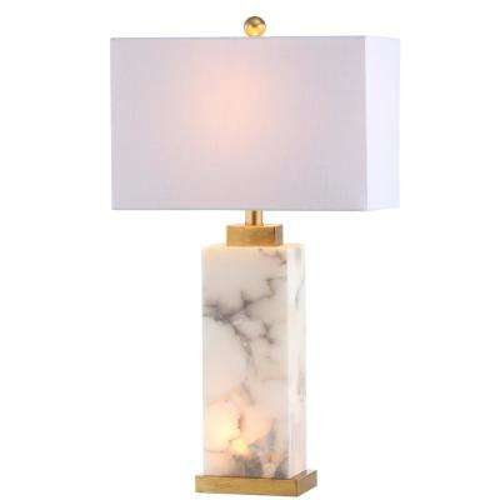 Alabaster Led Table Lamp White Gold Leaf