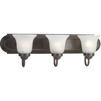 3-Light Antique Bronze Bathroom Vanity Light with Glass Shades