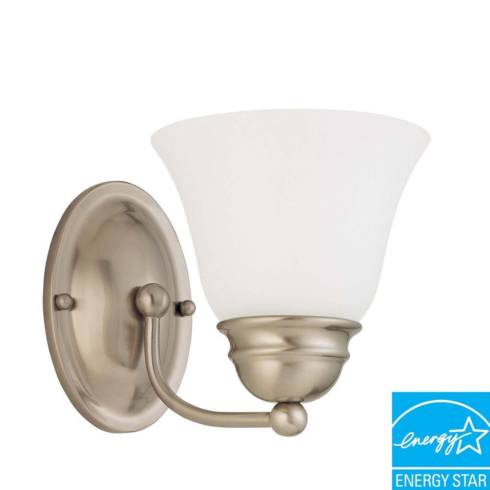 Glomar 1-Light Brushed Nickel Sconce