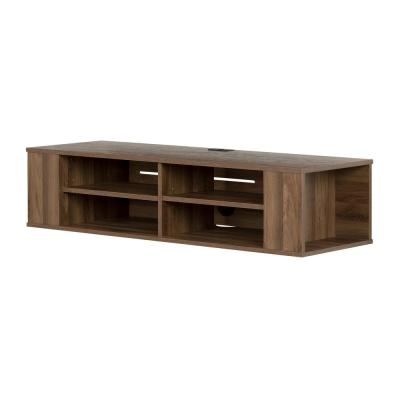 City Life 50 in. Natural Walnut Particle Board TV Console 54 in. with Cable Management