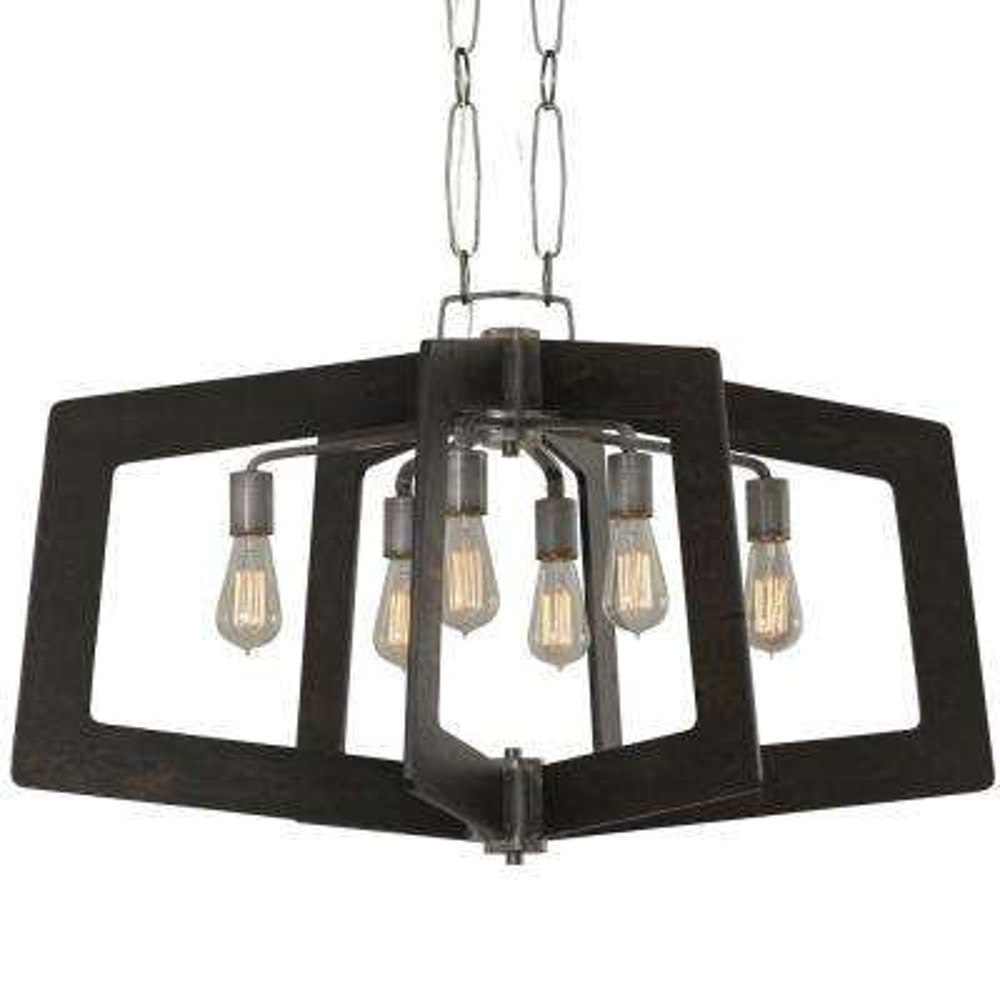 Lofty 6-Light Faux Zebrawood and Steel Oval Linear Pendant
