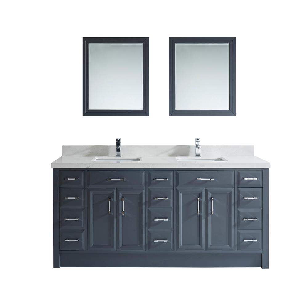 Studio Bathe Calais 75 in. W x 22 in. D Vanity in Pepper Gray with Solid Surface Vanity Top in White with White Basin and Mirror