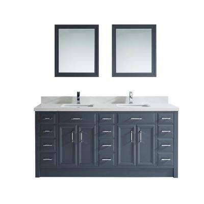 Calais 75 in. W x 22 in. D Vanity in Pepper Gray with Solid Surface Vanity Top in White with White Basin and Mirror