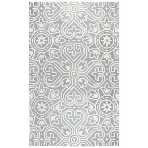 Rizzy Home Opulent Gray Medallion Hand Tufted Wool 9 ft. x 12 ft. Area Rug by Rizzy Home