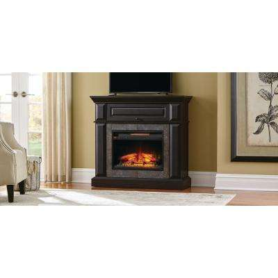 Coleridge 42 in. Mantel Console Infrared Electric fireplace in Midnight Oak Finish in 39 in. H