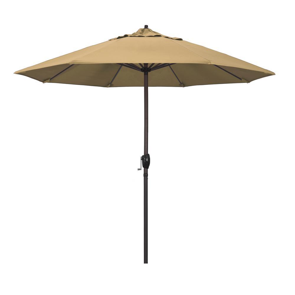9 ft. Bronze Aluminum Market Patio Umbrella Auto Tilt Crank Lift in Champagne Olefin