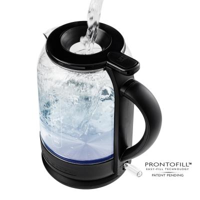 6.3-Cup Black Glass Electric Kettle with ProntoFillTM Technology-Fill Up with Lid On