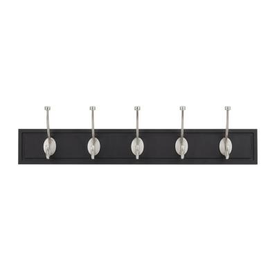 27 in. Black Rail with 5 Satin Nickel Hooks