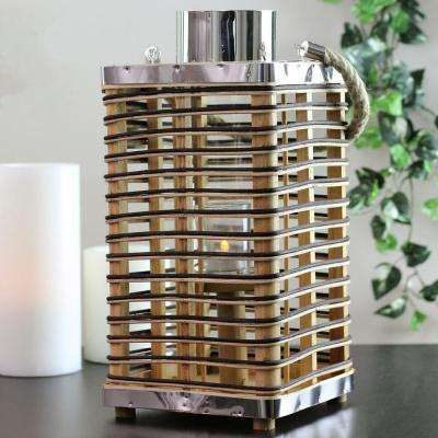 15.5 in. Rustic Chic Rattan Lantern Candle Holder