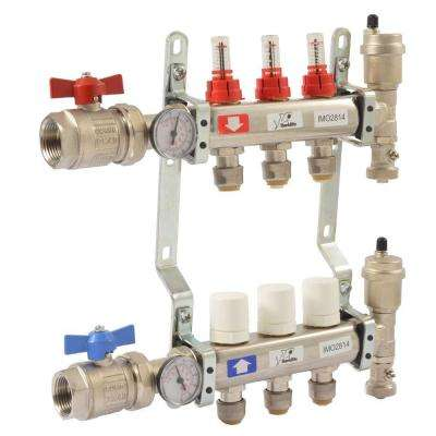 1 in. NPT Inlet x 1/2 in. Push-Fit 3-Outlet Radiant Heating Manifold