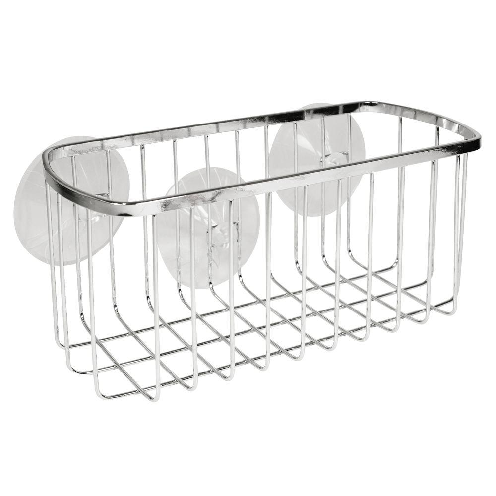 InterDesign Suction Rectangular Shower Basket In Chrome
