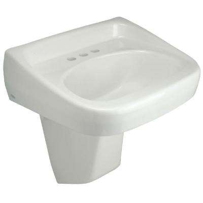 Wall-Mounted Bathroom Sink with Half Pedestal in White