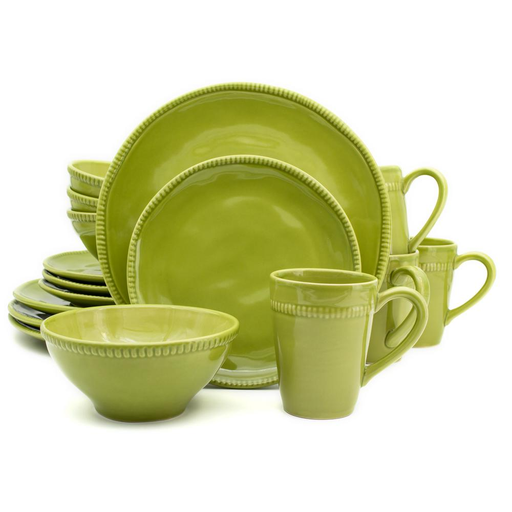 Algarve 16-Piece Green Dinnerware Set