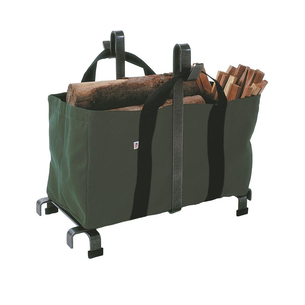 2.5 ft. Carrier Bag Log Rack with Hammered Steel Finish